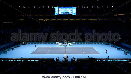 Britain Tennis - Barclays ATP World Tour Finals - O2 Arena, London - 13/11/16 Serbia's Novak Djokovic in action - Stock Photo