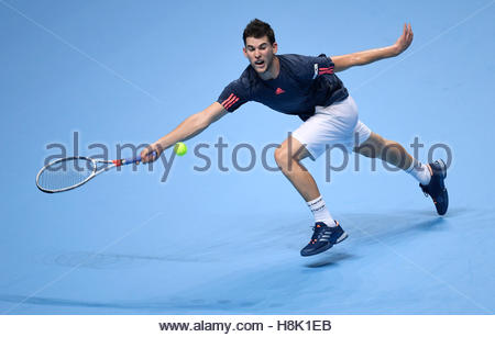 Britain Tennis - Barclays ATP World Tour Finals - O2 Arena, London - 13/11/16 Austria's Dominic Thiem in action - Stock Photo
