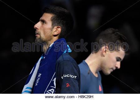 Britain Tennis - Barclays ATP World Tour Finals - O2 Arena, London - 13/11/16 Serbia's Novak Djokovic during his - Stock Photo