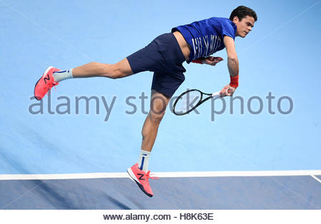Britain Tennis - Barclays ATP World Tour Finals - O2 Arena, London - 13/11/16 Canada's Milos Raonic in action during - Stock Photo