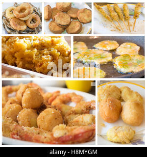 collage of fried snack and appetizers - Stock Photo