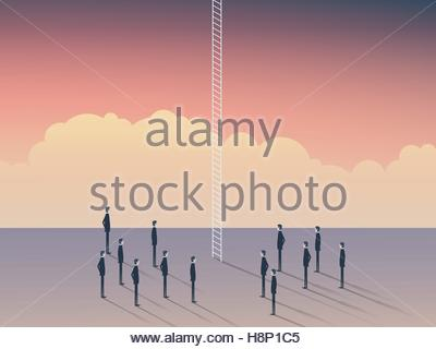 Business and career opportunities, corporate ladder. Businessmen standing to climb above clouds, sky is the limit. - Stockfoto