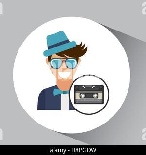 cassette vintage man style hipster vector illustration eps 10 - Stock Photo