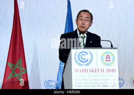 Marrakech, Morocco. 15th Nov, 2016. United Nations Secretary-General Ban Ki-moon addresses the opening of the joint - Stock Photo