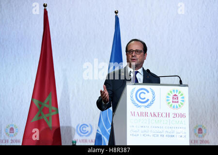 Marrakech, Morocco. 15th Nov, 2016. French President Francois Hollande speaks at the opening of the joint High-Level - Stock Photo