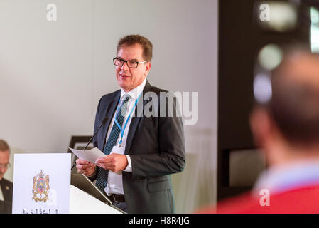 Marrakech, Morocco. 15th Nov, 2016. The German Federal Ministat the UN Climate Conference COP22 in Marrakech, Morocco, - Stock Photo