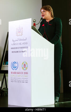 Marrakech, Morocco. 15th Nov, 2016. The Moroccan Minister of Environment Hakima El Haite speaks at the UN Climate - Stock Photo