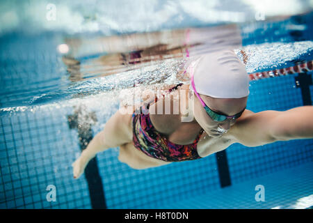 Underwater shot of young female swimmer swimming in pool. Fit young female swimmer training in the pool. - Stock Photo