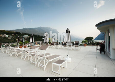 Lake Garda from the hotel roof terraced - Stock Photo