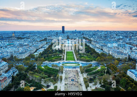 view from Eiffel Tower over Champs de Mars at dusk, Paris, France - Stock Photo
