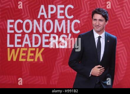 Lima, Peru. 20th Nov, 2016. Canada's Prime Minister Justin Trudeau attends the 2016 Asia-Pacific Economic Cooperation - Stock Photo