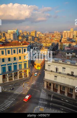 Havana, Cuba: Elevated view of Old Havana buildings at dawn - Stock Photo