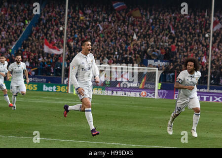 Madrid, Spain. 19th Nov, 2016. Cristiano (L) celebrates the first Goal of the match whith Marcelo (R). Real Madrid - Stock Photo