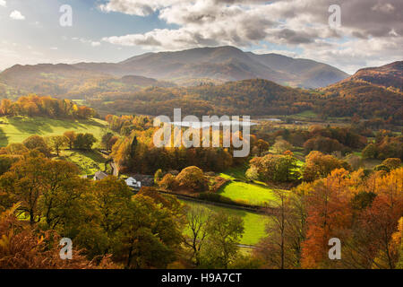 Elter Waterwith Coniston Mountain Range in distanceLake DistrictCumbria - Stock Photo