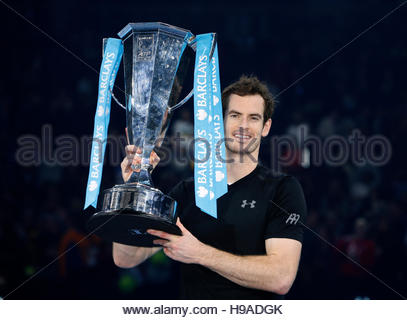 Tennis Britain - Barclays ATP World Tour Finals - O2 Arena, London - 20/11/16 Great Britain's Andy Murray celebrates - Stockfoto