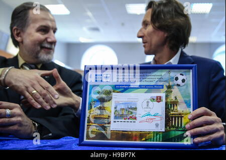 Moscow, Russia. 22nd Nov, 2016. Union of Philatelists of Russia President Arsen Melitonyan (L) and Alexei Smertin, - Stock Photo