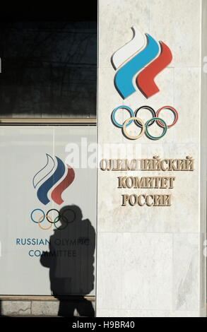 Moscow, Russia. 22nd Nov, 2016. A view of the Russian Olympic Committee building where the Russian Diving Federation - Stock Photo