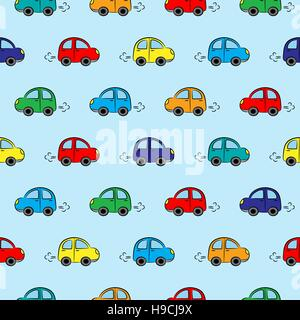 Seamless vector pattern with cute little cars of different colors - Stock Photo