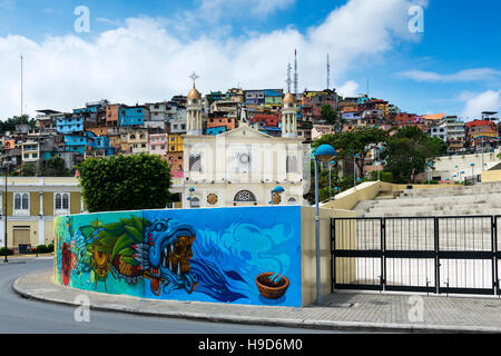 Guayaquil, Ecuador - January 21, 2014: View of the town of Guayaquil with church and colorful houses in Ecuador, - Stock Photo