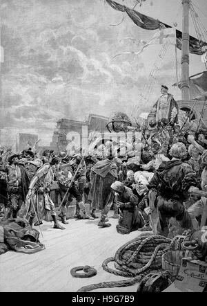 Christopher Columbus, 1451 - 20 May 1506, was an Italian explorer, navigator, colonizer. Here the mutiny aboard - Stock Photo