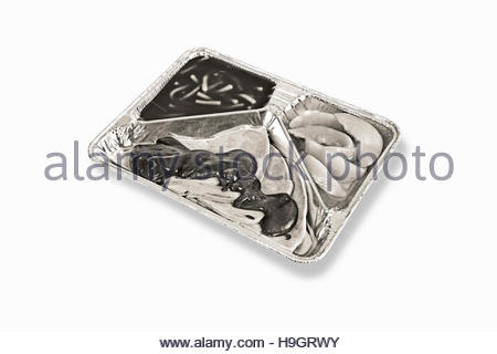 TV dinner tray vintage retro meal aluminum fast food dish monochrome metal - Stock Photo