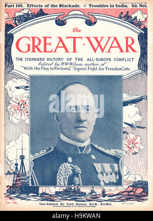 1916 The Great War front page Vice Admiral Sir Cecil Burney - Stock Photo