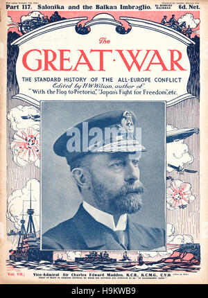 1916 The Great War front page  Vice Admiral Sir Charles Madden - Stock Photo