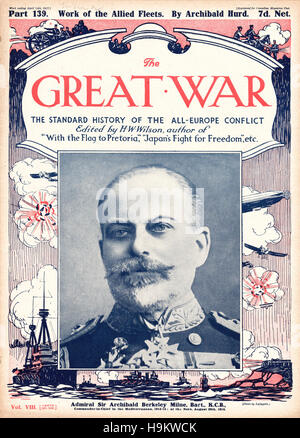 1917 The Great War front page Admiral Sir Archibald Berkeley Milne - Stock Photo