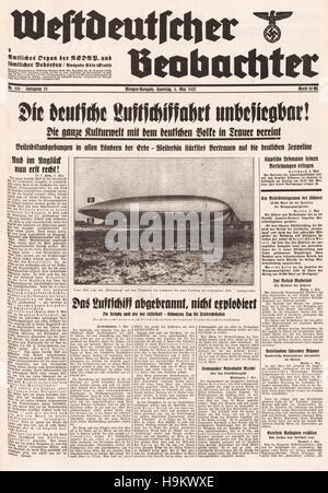 1937 Westdeutscher Beobachter  front page Hindenburg zeppelin disaster - Stockfoto