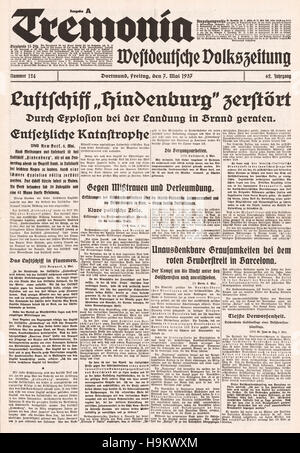 1937 Tremonia  front page Hindenburg zeppelin disaster - Stock Photo