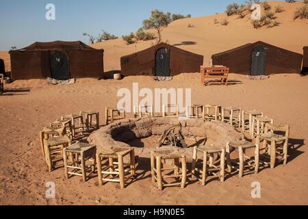 Campsite in the Sahara Desert - Stock Photo