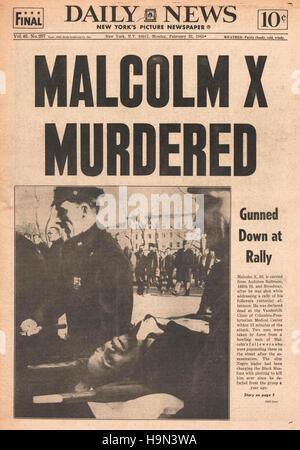 1965 ermordet daily News (New York) Titelseite Malcolm X - Stockfoto