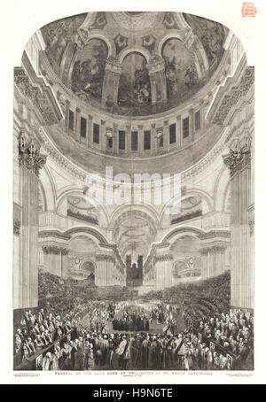 1853 Illustrated London News centre page Funeral of the Duke of Wellington - Stock Photo