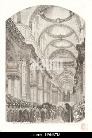 1852 Illustrated London News centre page Funeral of the Duke of Wellington - Stock Photo