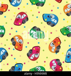 Seamless toy car  background for baby boy - Stock Photo