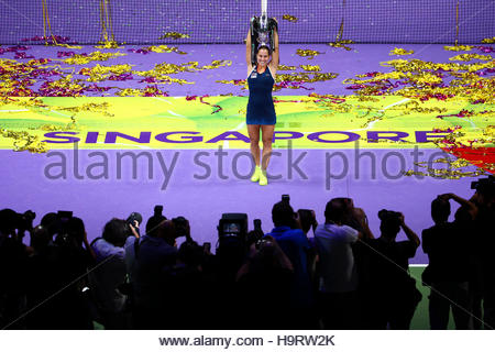 Tennis - BNP Paribas WTA Finals - Singapore Indoor Stadium - 30/10/16  Slovakia's Dominika Cibulkova celebrates - Stock Photo