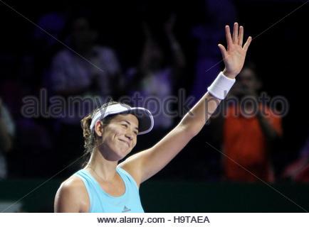 Tennis - BNP Paribas WTA Finals - Singapore Indoor Stadium - 28/10/16  Spain's Garbine Muguruza celebrates winning - Stock Photo