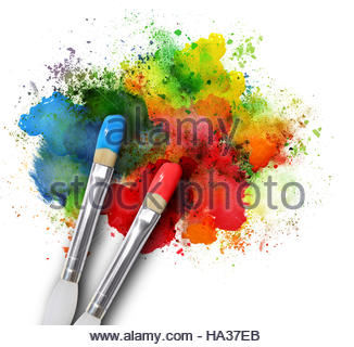Two paintbrushes are painting a rainbow splattered art project. The brush strokes are messy on a white isolated - Stock Photo
