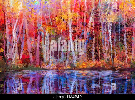 Oil painting colorful autumn trees. Semi abstract image of forest, aspen trees with yellow - red leaf and lake. - Stock Photo