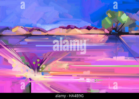 Abstract oil painting landscape background. Artwork modern oil painting outdoor landscape. Semi- abstract of tree, - Stock Photo