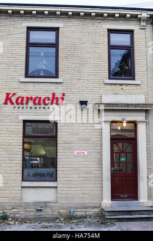 Karachi curry house, one of the first curry houses in Bradford, West Yorkshire. - Stock Photo