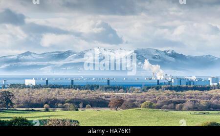 Arran Hills in Snow bigger than Industry - Stock Photo