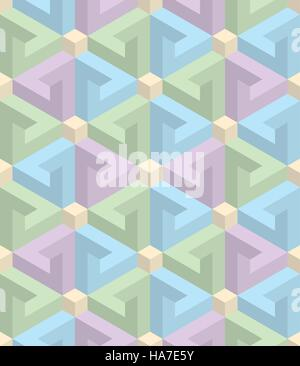 Isometric Seamless Pattern in pastel shades. 3D Optical Illusion Background Texture. Editable Vector EPS10 Illustration. - Stock Photo