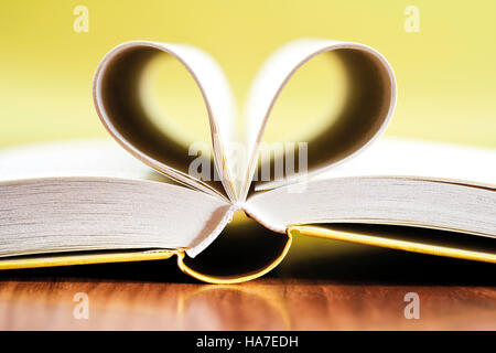 Open book, pages in the shape of a heart - Stock Photo