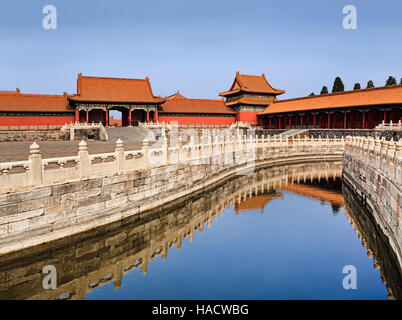 Still water canal through the stone laid square within Forbidden city chinese emperors residency on a bright sunny - Stock Photo