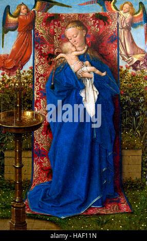 Madonna at the Fountain, by Jan van Eyck, 1439, Royal Museum of Fine Arts, Antwerp, Belgium, Europe - Stock Photo