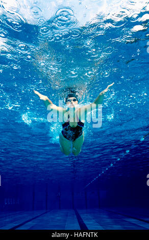 Swimmer, 20 year-old, training in butterfly style in a pool, Steyr, Upper Austria, Europe - Stockfoto