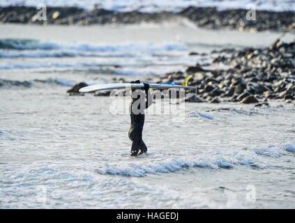 Vladivostok, Russia. 1st Dec, 2016. A surfer carries his surfboard along the Ussuri Bay coast. Credit:  Yuri Smityuk/TASS/Alamy - Stockfoto