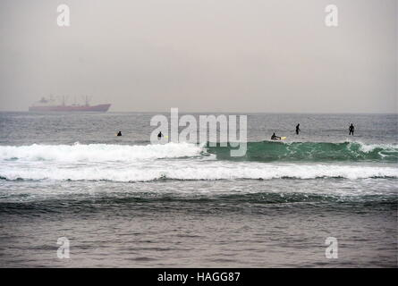 Vladivostok, Russia. 1st Dec, 2016. People on surfboards and stand up paddle boards in the Ussuri Bay. Credit:  - Stockfoto