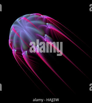 Abstract fractal   jelly fish shape computer-generated image - Stock Photo